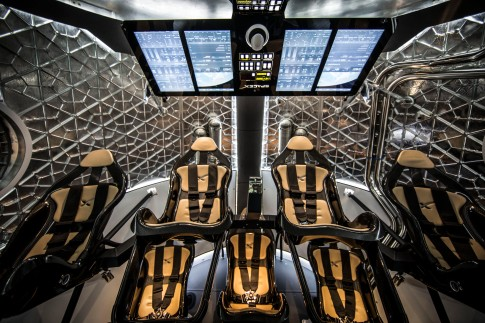 Cockpit interior of the Dragon v2 manned spacecraft, planned for launch in 2017.