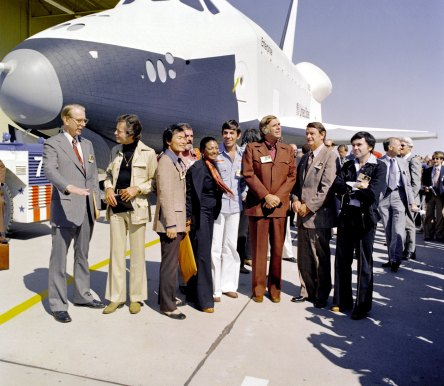 Gene Roddenberry and Star Trek cast at special dedication ceremony for Space Shuttle Enterprise