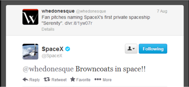 whedonesque spacex tweets